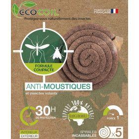 Spirales compactes anti moustique et insectes volants 100% naturelles à base de pyrèthre - 76 mm - Ecocoil