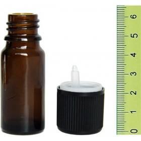 Flacon vide en verre jaune 10 ml et son bouchon sécurité