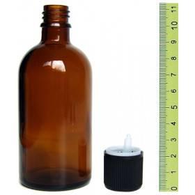Flacon vide en verre jaune 100 ml et son bouchon sécurité