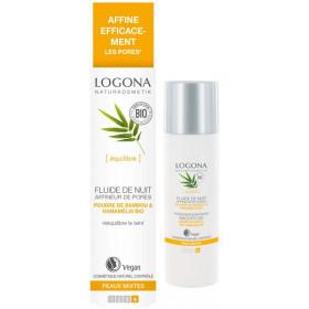 Fluide de nuit affineur de pores bambou et Hamamélis bio - peaux mixtes - 30 ml - Logona