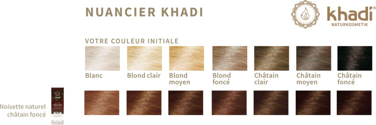nuancier khadi noisette naturel - Coloration Khadi Noisette