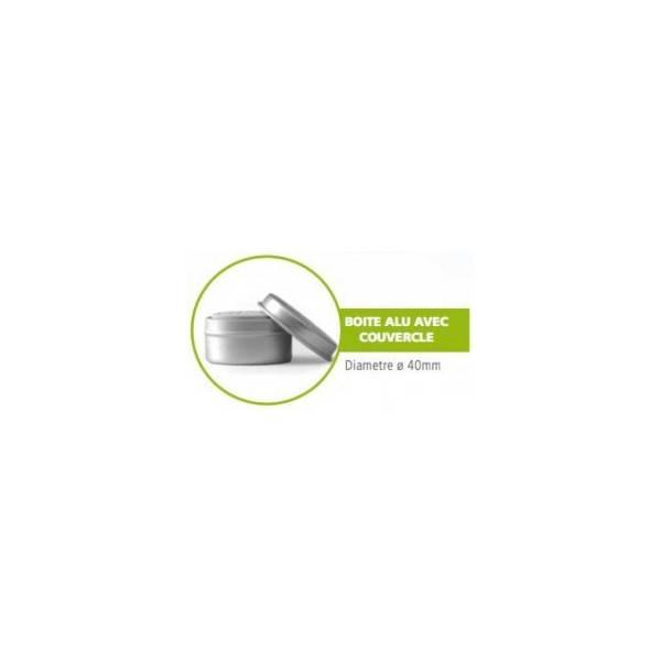 Diffuseur mini galet en argile blanche - Boîte alu avec couvercle