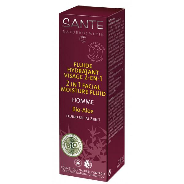 Fluide hydratant visage 2 en 1 Homme Bio Aloé – 50ml - Sante
