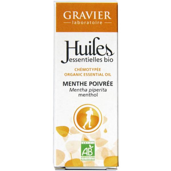 Huile essentielle de menthe poivrée bio 10 ml - Laboratoire Gravier