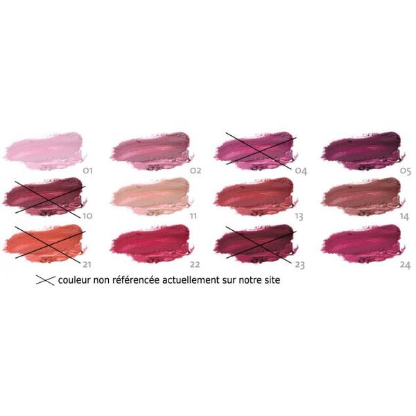 Détails couleurs pour la gamme rouge à lèvres maquillage Sante