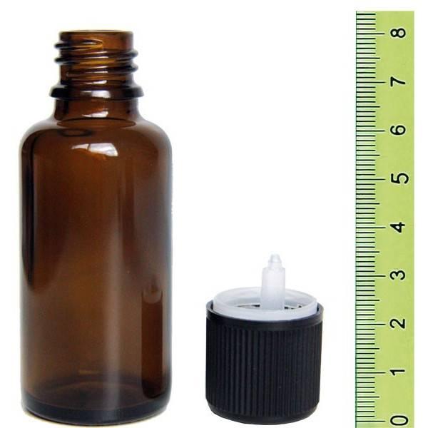 Flacon ambré 30 ml + son bouchon sécurité
