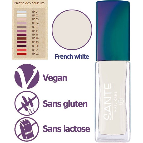 Détail - Maquillage Vernis à ongles N°02 French Manucure White – 7ml – Sante