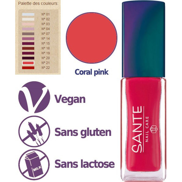 Détail - Maquillage Vernis à ongles N°21 Coral Pink – 7ml – Sante