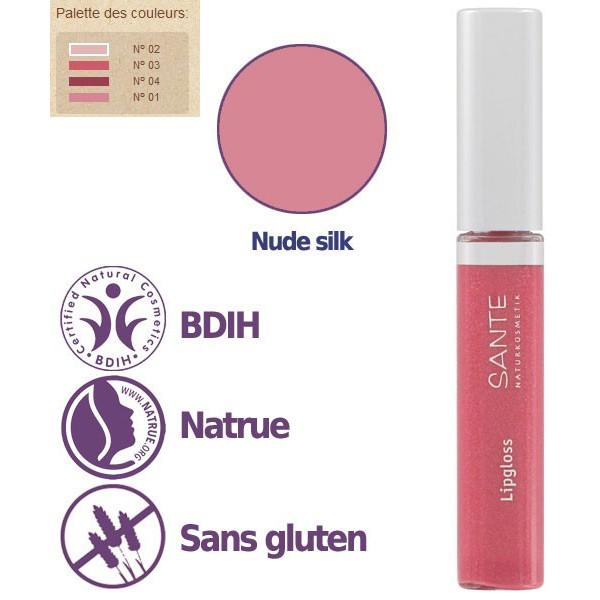Détails - Maquillage Gloss à lèvres N°02 Nude Silk – 8ml – Sante