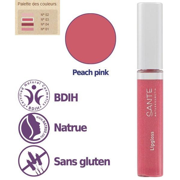 Détails - Maquillage Gloss à lèvres N°03 Peach Pink – 8ml – Sante