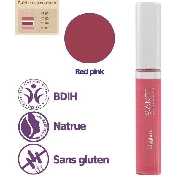 Détails - Maquillage Gloss à lèvres N°04 Red Pink – 8ml – Sante