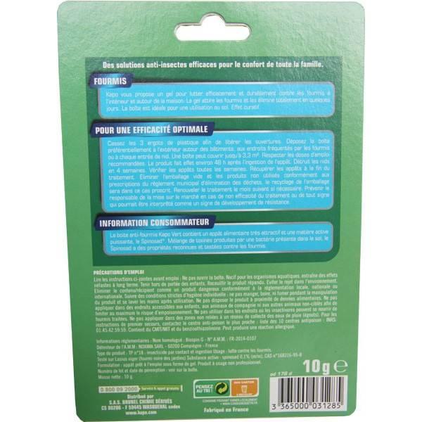 Boîte gel appât anti-fourmis 100% naturel – 10gr – Kapo Vert - Verso