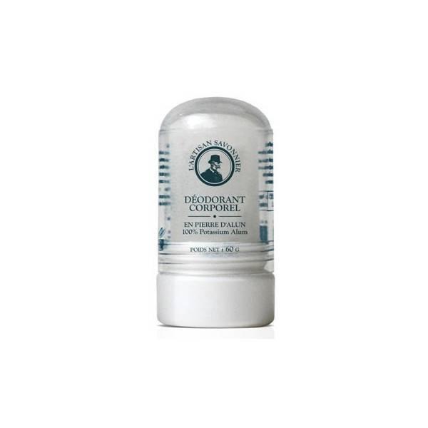 Déodorant corporel en pierre d'alun - 100% Potassium Alun - 60g - Artisan Savonnier