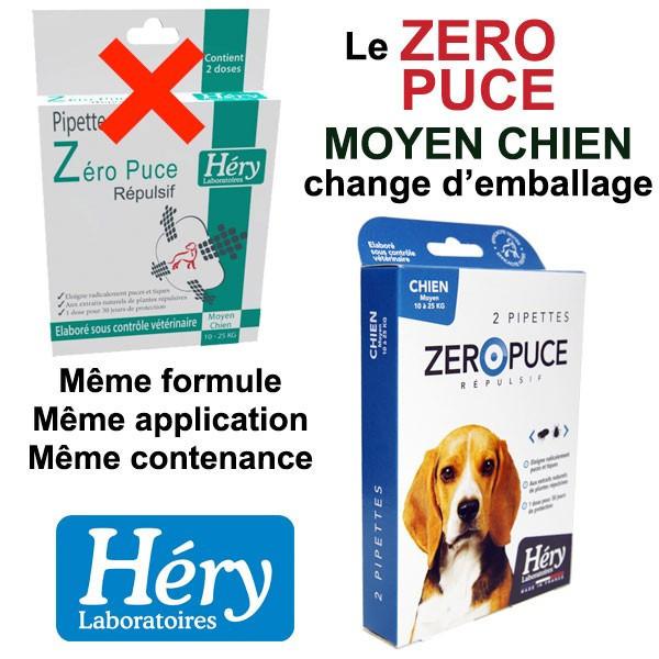 Changement d'emballage pour les pipettes Zéro Puce Moyen Chien - Héry