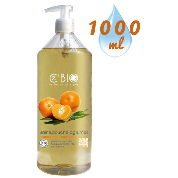 Gel bain & douche Agrumes Mandarine Orange – 1000ml – Ce'Bio