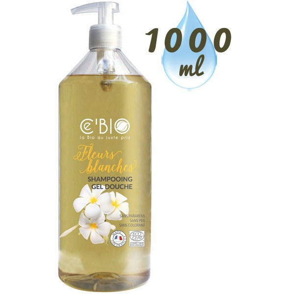 Shampooing douche Fleurs Blanches – 1000 ml – Ce'Bio