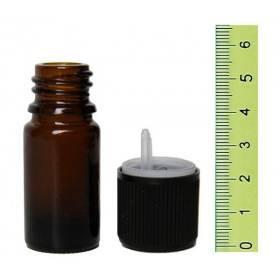 Flacon vide en verre jaune 5 ml et son bouchon sécurité - Vue 2