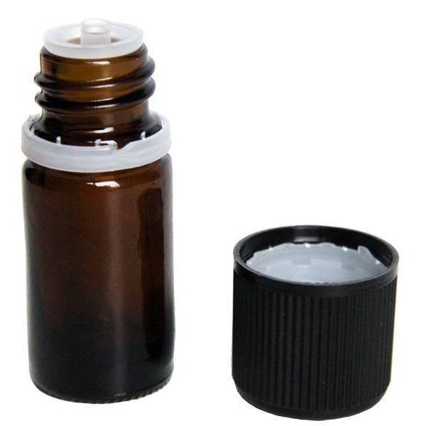 Flacon vide en verre jaune 5 ml et son bouchon sécurité - Vue 1