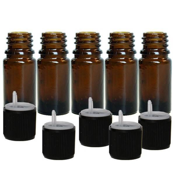 Lot de 5 unités - Flacons 5 ml + bouchons sécurité