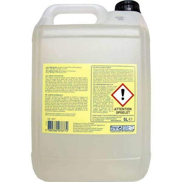 Vinaigre d'alcool blanc Bio 12% - 5 litres - Ecodoo - Vue 2