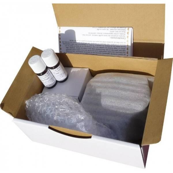 Détail boîte du coffret diffuseur Pomme Ambre socle galet bois clair - 100 m²