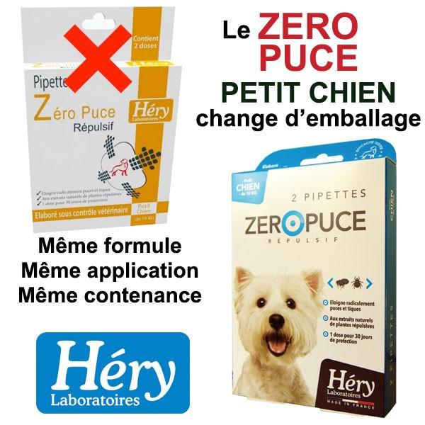 Changement d'emballage pour les pipettes Zéro Puce Petit Chien - Héry