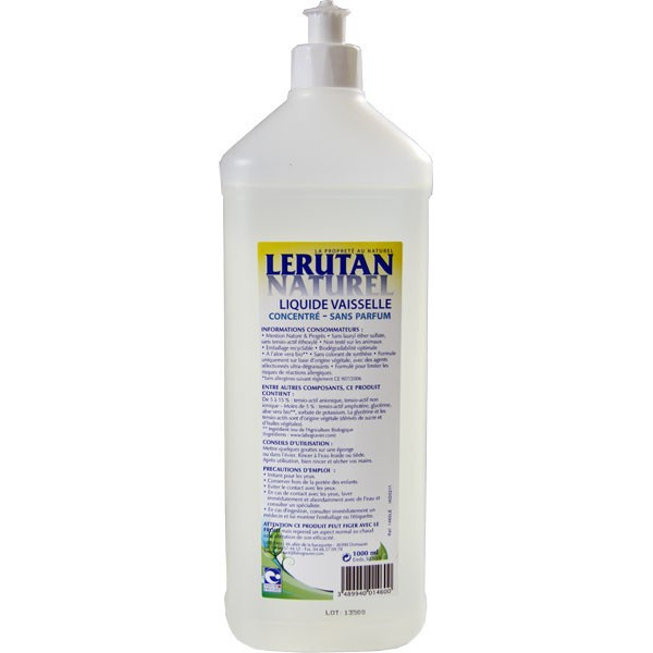 Liquide vaisselle main sans parfum – 1000ml – Lerutan - Vue 2