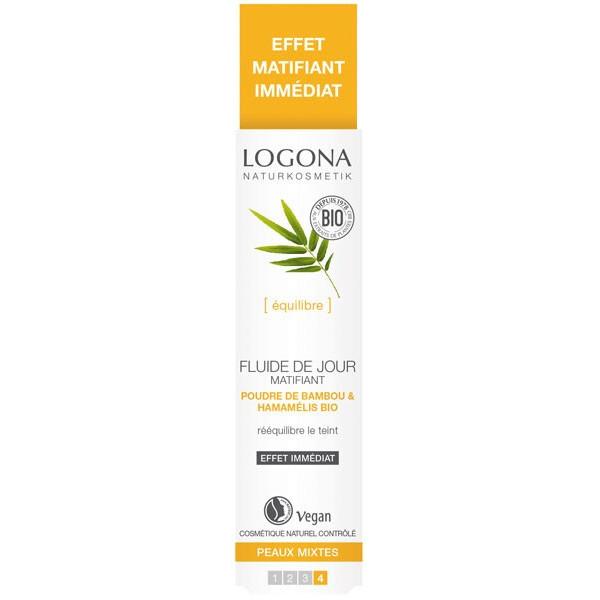 Fluide de jour matifiant poudre de bambou et Hamamélis bio - peaux mixtes - 30 ml - Logona