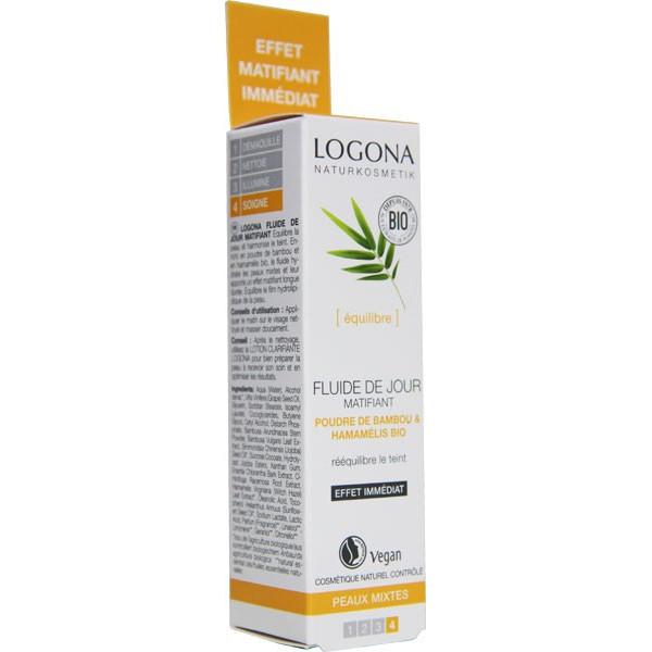 Fluide de jour matifiant poudre de bambou et Hamamélis bio - peaux mixtes - 30 ml - Logona - Vue 3