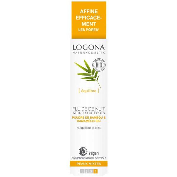 Fluide de nuit affineur de pores bambou et Hamamélis bio - peaux mixtes - 30 ml - Logona - Vue 1