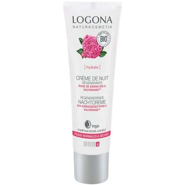 Crème de nuit régénérante Rose de Damas bio et Kalpariane - peaux sèches - 30 ml - Logona - Vue 2