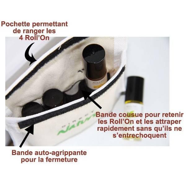 Détail fabrication pour la trousse Aventure avec 4 Roll'on aux huiles essentielles