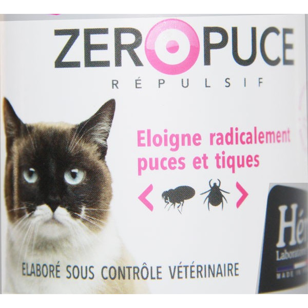 Zoom étiquette face Spray Zéro Puce - Chat – 250 ml - Héry