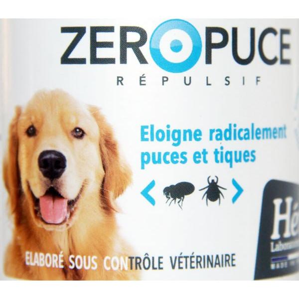 Zoom étiquette face pour le spray Zéro Puce - Chien – 250 ml - Héry