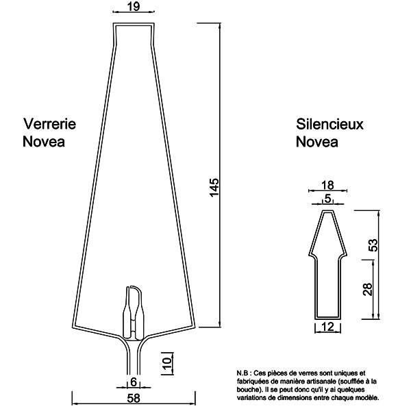 Dessin technique et dimensions pour la verrerie et le silencieux Novea