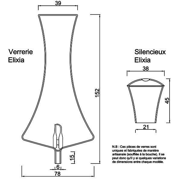 Dessin technique et dimensions pour la verrerie et le silencieux Elixia