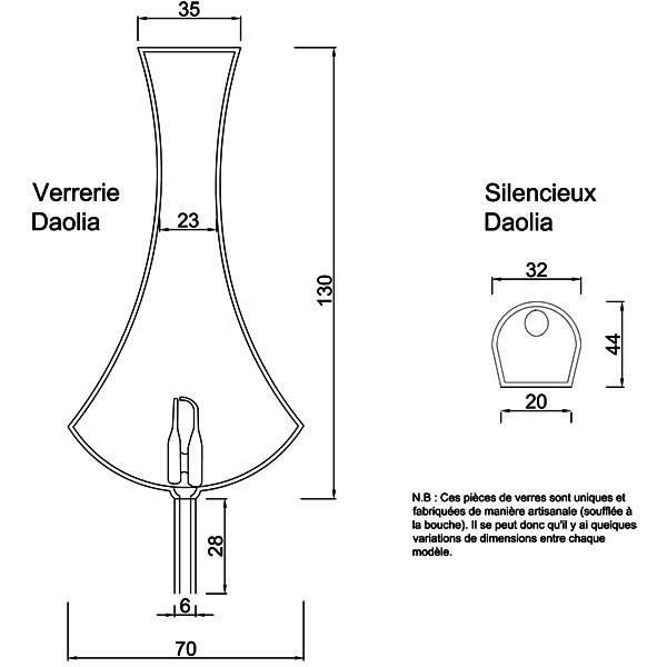 Dessin technique et dimensions pour la verrerie et le silencieux Daolia