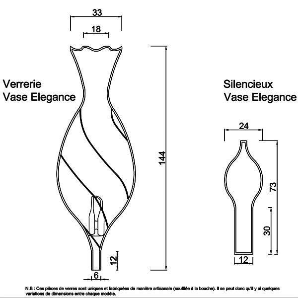 Dessin technique et dimensions pour la verrerie et le silencieux Vase Elegance