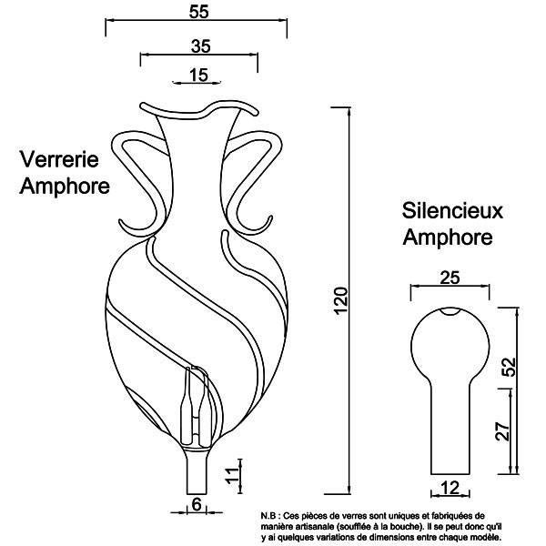 Dessin technique et dimensions pour la verrerie et le silencieux Amphore