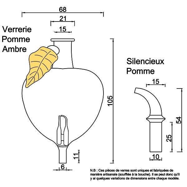 Dessin technique pour la verrerie et le silencieux modèle Pomme ambre