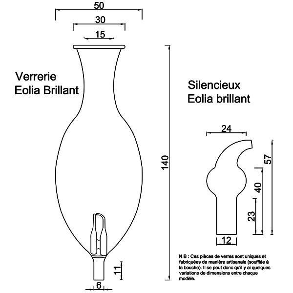 Dessin technique pour la verrerie et le silencieux modèle Eolia brillant