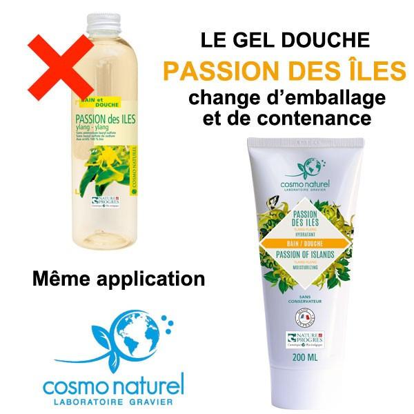 Changement d'emballage et de contenance pour le gel douche Passion des Îles Cosmo Naturel