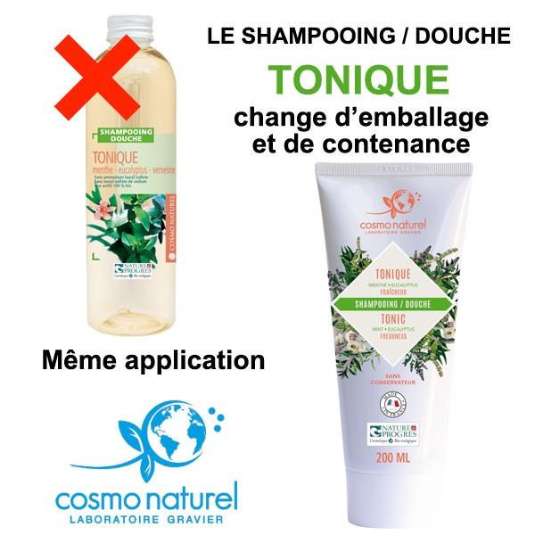 Nouveau packaging pour le shampooing douche Tonique Menthe Eucalyptus Cosmo Naturel