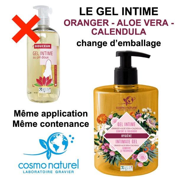 Changement d'emballage pour le gel intime Douceur au pH doux – 500 ml – Cosmo Naturel