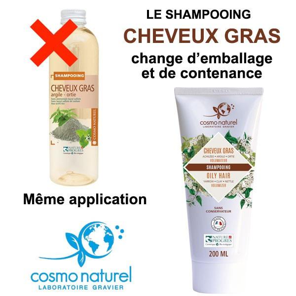 Changement d'emballage pour le shampooing Cheveux Gras Argile Ortie - 200 ml – Cosmo Naturel