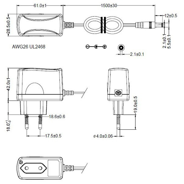 Détails techniques pour le transformateur pour diffuseur électrique - output 12V - 200mA