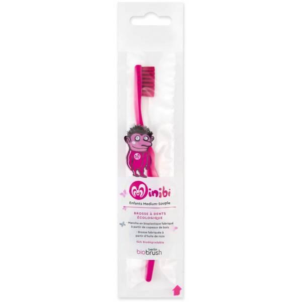 Brosse à dents enfant à base de bioplastique - couleur rose - Biobrush Berlin - Vue 1