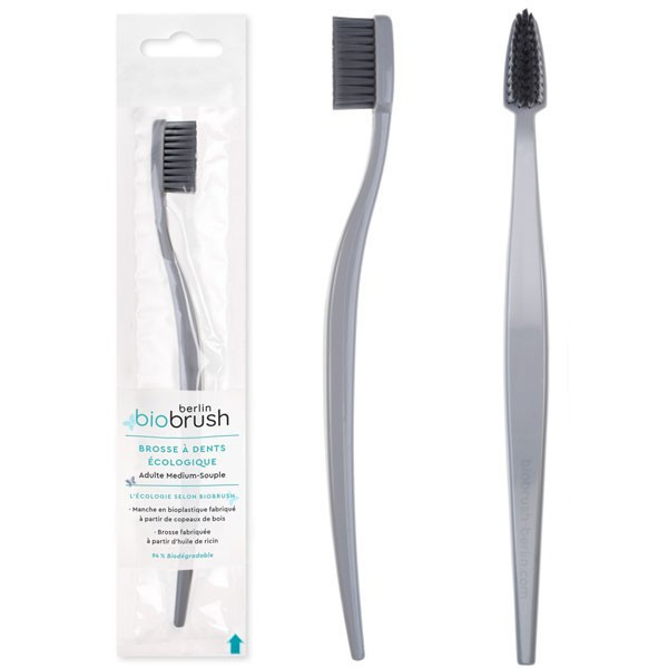Brosse à dents adulte à base de bioplastique - couleur gris - Biobrush Berlin