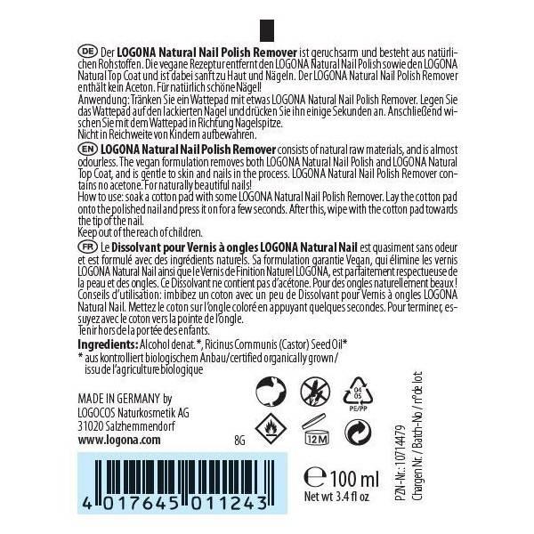 """Dissolvant naturel pour vernis à Ongles """"Natural Nail"""" - 100 ml - Logona - étiquette arrière"""