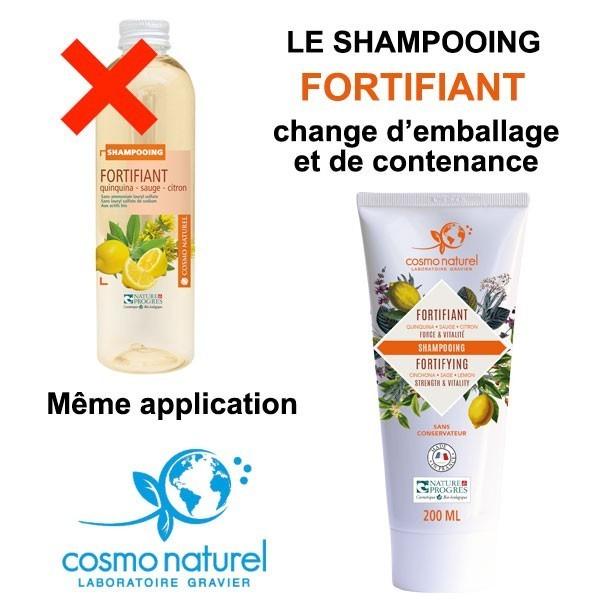 Changement d'emballage et de contenance pour le shampooing Fortifiant Quinquina Sauge Citron 200ml Cosmo Naturel